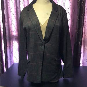 🎉Torrid Gray and Pink Plaid Suit Jacket NWOT